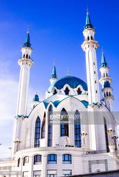 one of the largest mosques in russia, the kul sharif mosque in kazan, russia - kul sharif mosque stock pictures, royalty-free photos & images