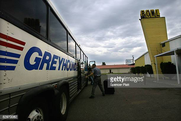 One of the last passengers who traveled to the Greyhound stop is unloaded August 17 2004 in Goldendale Washington Greyhound the iconic bus company...