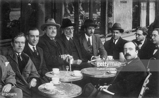 One of the last photographs of Spanish poet Vicente BlascoIbanez at the Cafe La Rotonde the Headquarters of the Spanish Italian club The novelist was...