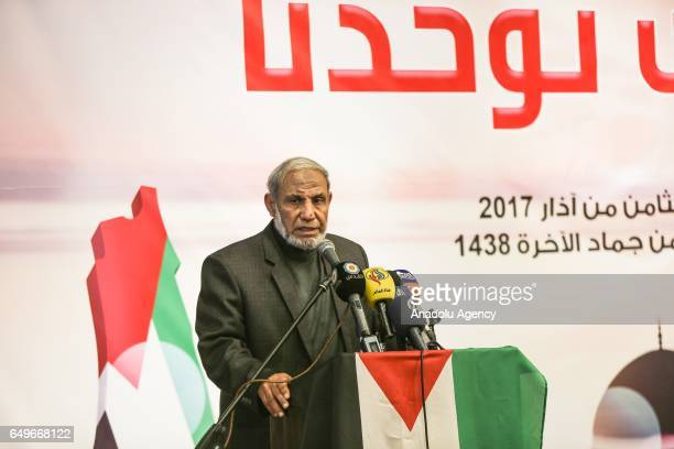 One of the leaders of Hamas Mahmoud alZahar delivers a speech during an event organized for the International Women's Day in Gaza City Gaza on March...