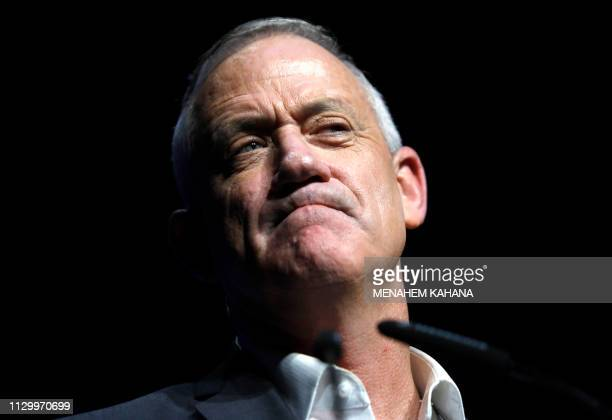 One of the leaders of Israeli centrist Blue and White alliance, Benny Gantz, attends a campaign convention in the southern Israeli city of Beersheva...