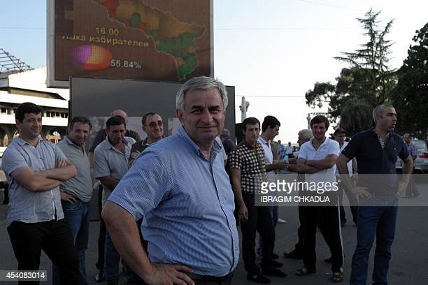 One of the leaders of the Abkhazian opposition and presidential candidate Raul Khadjimba reacts at the end of the presidential election in central...