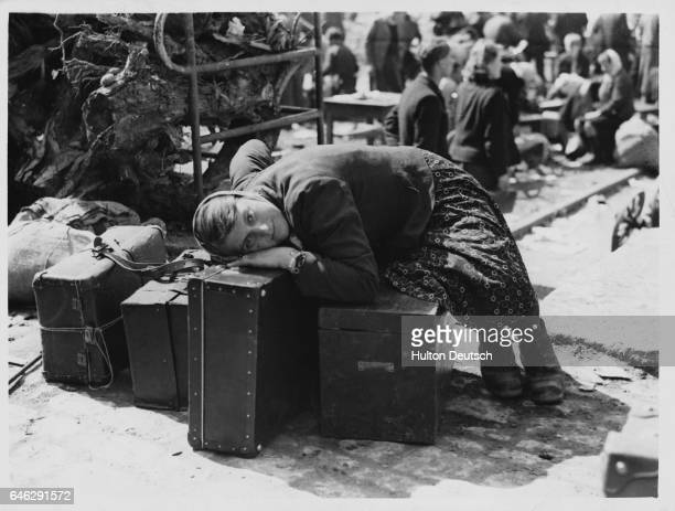 One of the liberated Russians Ukranian Dutch Serbian and French men and women used as slave labour in German factories and farms | Location Goebbells...