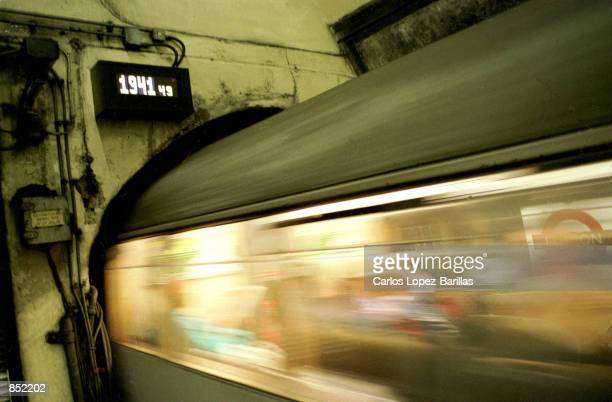One of The London Underground's Northern Line train arrives at a platform in Euston Station February 3 2000 in London England The London Underground...
