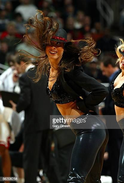 One of the Luvabulls Dancers performs during the game between the Chicago Bulls and the Golden State Warriors on November 9 2005 at the United Center...