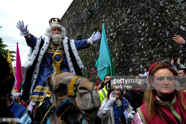 SPAIN PAMPLONA NAVARRA SPAIN One of the magi atop a camel during the cavalcade of the three kings the day before Epiphany It is a parade symbolizing...
