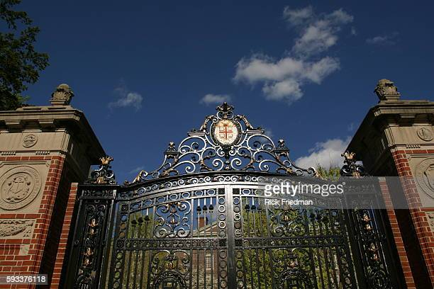 One of the main gates on the Brown University campus decorated with the University crest