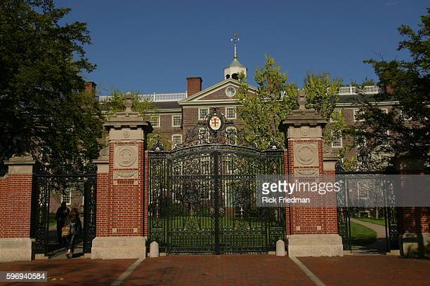 One of the main gates on the Brown University campus, decorated with the University crest.