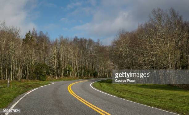 One of the main park roads along the Tennessee border is viewed from the top of a ridge near the Appalachian Trail on May 11 2018 near Cherokee North...