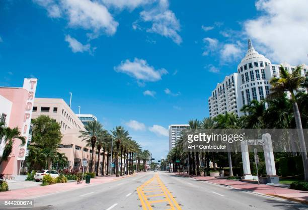 One of the main streets of Miami Beach is deserted following a mandatory evacuation in preparation of Hurricane Irma in Miami Beach Florida September...