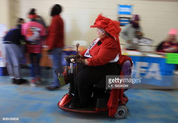 TOPSHOT One of the many ADA participants moves along at the Women's March Anniversary Power To The Polls event January 21 2018 at Sam Boyd Stadium in...