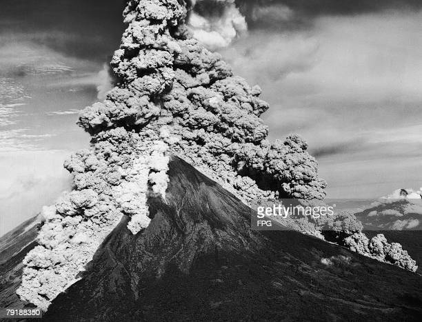 One of the many eruptions of Mayon Volcano near Legazpi City in the Philippines 1938
