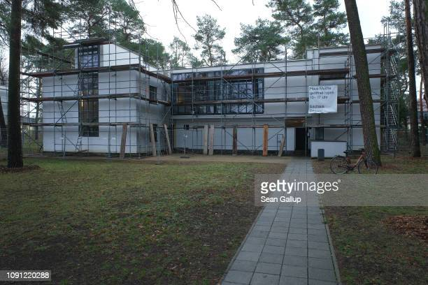 One of the Meisterhäuser or master houses of the Bauhaus movement built in the 1920s stands under scaffolding on January 7 2019 in Dessau Germany...