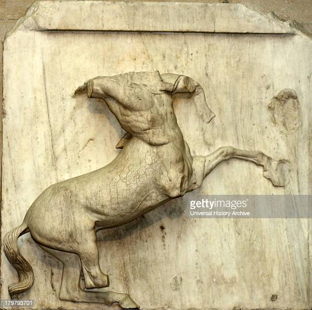 One of the Metopes from the Parthenon Athens made from marble Depicting a battle between Lapiths and Centaurs