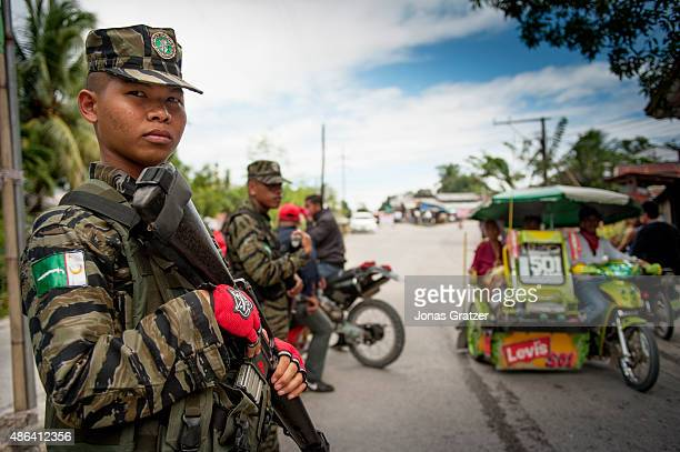 BANGSAMORO MINDANAO PHILIPPINES One of the MILF soldiers stands outside the entrance of Bangsamoro The war in Mindanao is finally over after the...