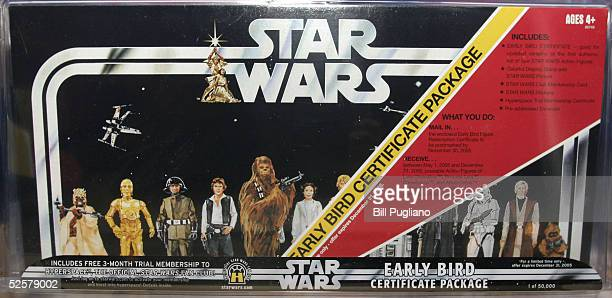 One of the most indemand items of the newly released Star Wars toys and merchandise is the 'Early Bird Certificate Package' displayed here at a...