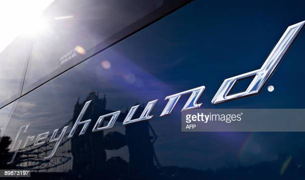 One of the new Greyhound buses is pictured at the launch of the service near Tower Bridge in central London on August 19 2009 The Greyhound bus the...