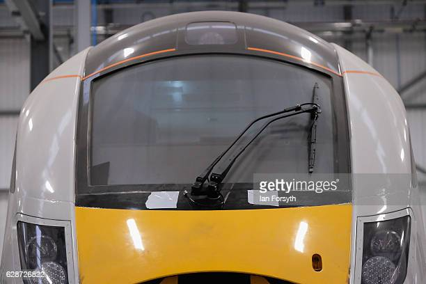 One of the new Intercity Express trains is viewed at the Hitachi Rail Europe site on December 9, 2016 in Newton Aycliffe, United Kingdom. The first...