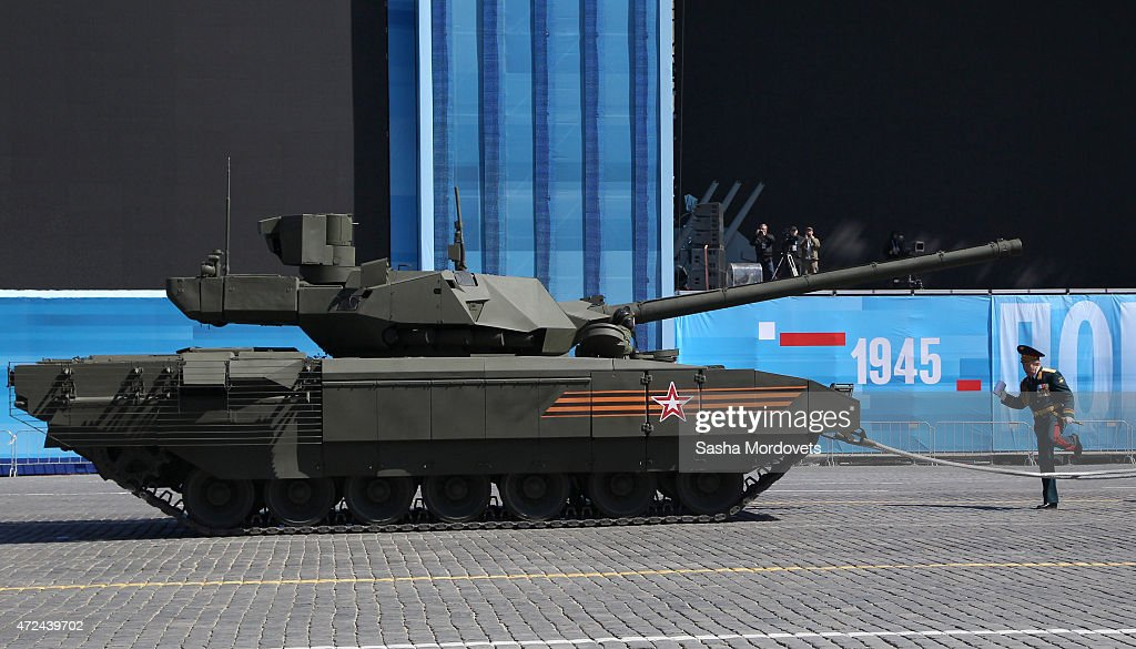 One of the new T-14 tanks is towed during the final rehearsal of the Victory Day parade ahead of celebrations to mark the 70th anniversary of the 1945 victory over Nazi Germany and the end of World War II on May 7, 2015 in Moscow, Russia. During the rehearsal one of the tanks moving on Red Square suddenly stopped while others drove away, the engine was still rumbling but the tank failed to move. The T-14 finally rolled away about 15 minutes later after an attempt to tow it. The city of Moscow will celebrate the anniversary on May 9 with a Victory Day international military parade and other events that most European leaders are snubbing due to Russia's involvement in the war in eastern Ukraine.