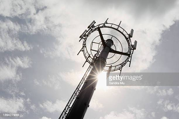 One of the new ultra fast broadband towers is seen on a rural farm in Eureka on February 21 2012 in Hamilton New Zealand Today Vodafone and the New...