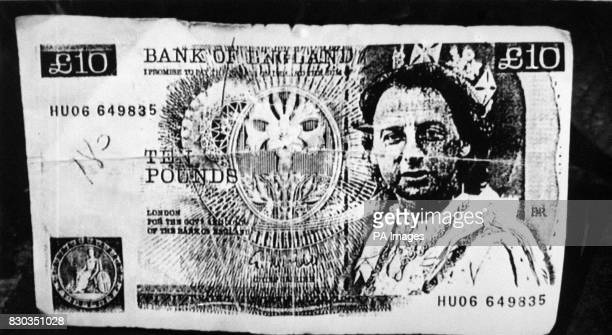 One of the notes featuring the face of former Welsh International soccer star Mickey Thomas circulating in North Wales after his arrest on forgery...