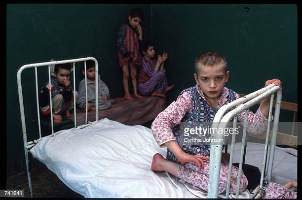 "One of the numerous ""irrecuperables"" given up by their families to state run institutions May 15, 1990 in Romania. Under Nicolae Ceausescu policies..."