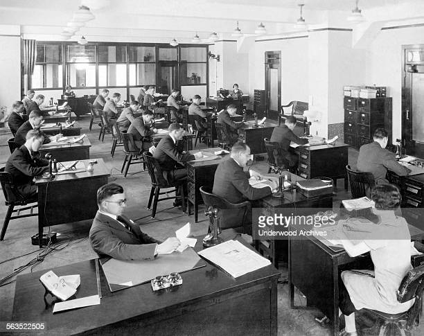 One of the offices at the Chicago Tribune newspaper Chicago Illinois circa 1923
