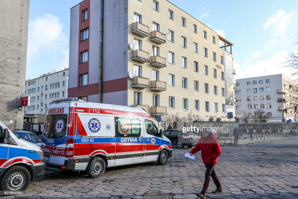 One of the older Mercedes Sprinter ambulance is seen in Gdynia, Poland on 21 February 2018 New Mercedes Sprinter ambulance costed over 100.000 Euro, and is 18th ambulance in the Gdynia Emergency Medical Services fleet.