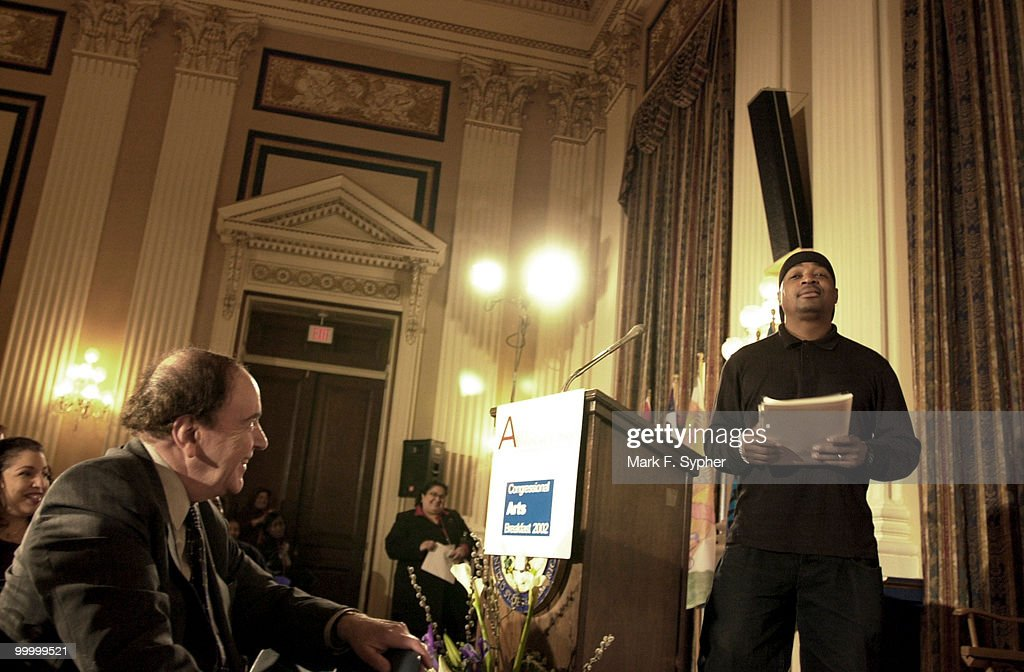 One of the originators of the hip-hop culture, Chuck D, concludes his speech in the Cannon Caucus Room Tuesday morning.