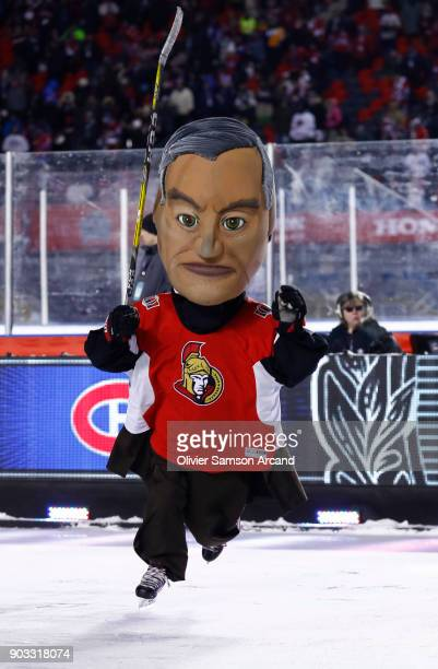 One of the Ottawa Senators Prime Ministers play a game of hockey on the auxiliary rink during the first intermission of the 2017 Scotiabank NHL 100...