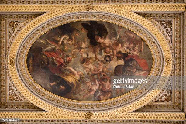 One of the paintings by Paul Rubens on the ceiling of Banqueting House, on 17th September 2017, in Whitehall, Westminster, London, England. The...