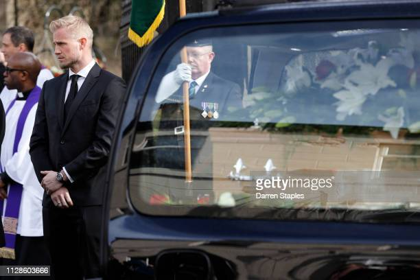 One of the Pall bearers Leicester City and Denmark goalkeeper Kasper Schmeichel attends the funeral of 1966 World Cup and former Stoke City...