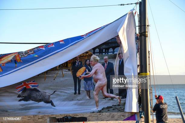 One of the panels of the censored artwork on Boscombe beach on September 25, 2020 in Bournemouth, England. The satirical artist Cold War Steve has...