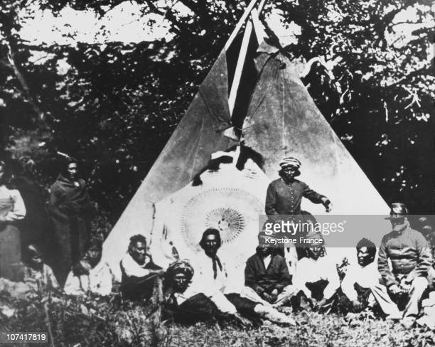 One Of The Print Of American Indians In Their Camps And Reservations From A Unique Collection Of Black And White Lantern Slides In Usa