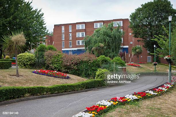 One of the prison blocks behind the prison garden at HMP Holloway the main womens prison in London HM Prison Holloway is a closed category prison for...