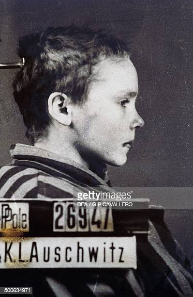 One of the prisoner identification photos of Czesława Kwoka a Polish Catholic child inmate of the German Nazi concentration camp at AuschwitzBirkenau...