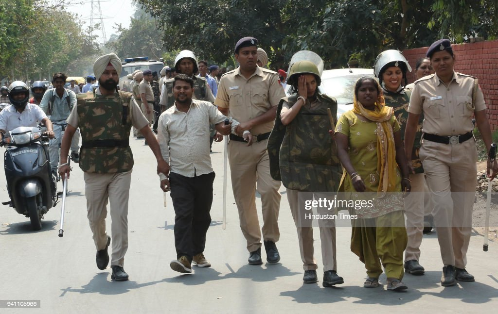 One of the protester arrest Chandigarh police due to SC/ST protest at Tribune Round About on April 2 2018 in Chandigarh India Nine people were killed.