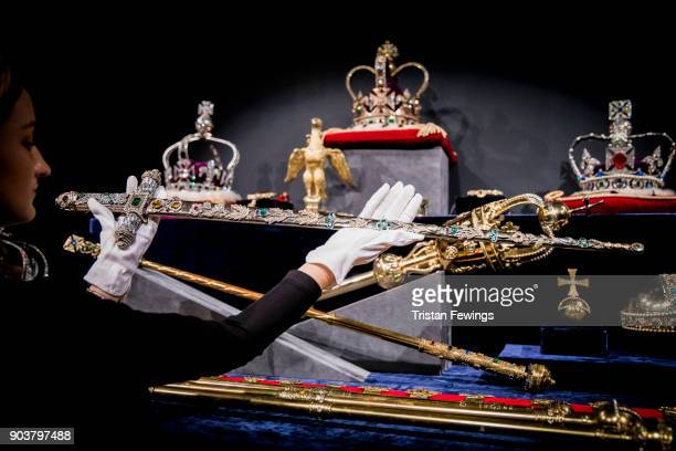 One of the replica sets of the British Crown Jewels made in honour of the Coronation of Queen Elizabeth II in 1953 goes on view at Sotheby's on...