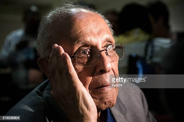 One of the Rivonia Trial defendants Ahmed Kathrada during the handing over of the digital audio recordings from the Rivonia Trial on March 17 2016 in...
