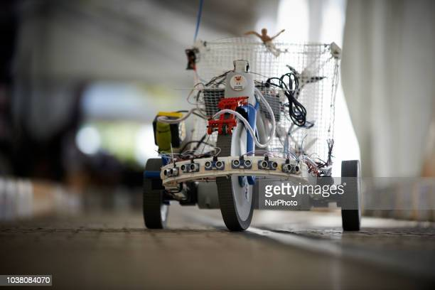 One of the robot which participated to the race A robots race took place in Toulouse Machines are either cars or walking robots They were supposed to...
