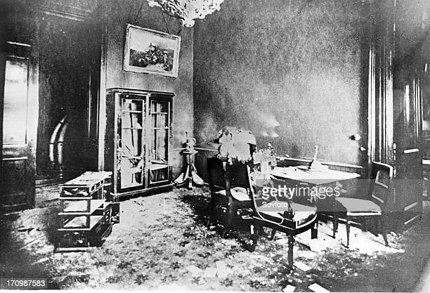 One of the rooms of the winter palace in petersburg the wall of which was pierced by a shot from the revolutionary cruiser aurora october 1917 during...