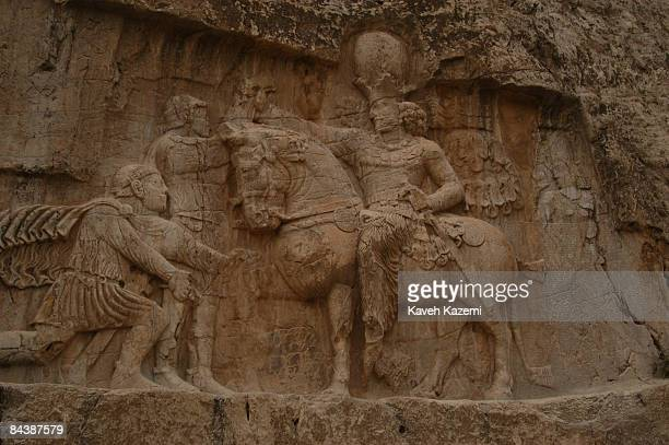One of the Sassanid rock reliefs in Naqsh-e Rustam, an archaeological site located near Persepolis, in Fars province, Iran, 17th April 2005. This...