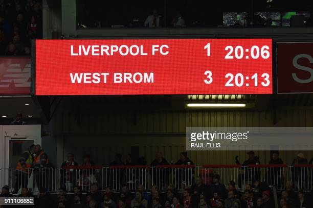One of the scoreboards has failed to keep up with the VAR decision still showing a West Brom goal later disallowed during the English FA Cup fourth...