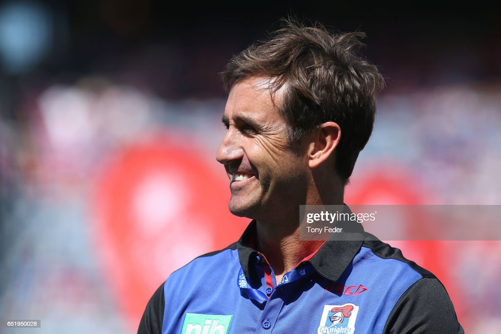 One of the seventeen most capped players for the Knights Andrew Johns before the game during the round two NRL match between the Newcastle Knights and the Gold Coast Titans at McDonald Jones Stadium on March 11, 2017 in Newcastle, Australia.