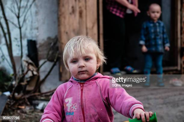 One of the several kids living in the bunker pictured outside the bunker The conflict between the Russian backed rebels and the Ukrainian arm forces...