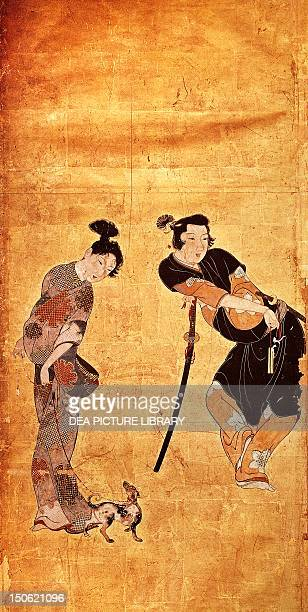 One of the six panels of the screen by Hikone with genre scenes colour on gold paper Japan each panel 945 x 48 cm Japanese Civilisation Edo period...