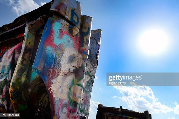 One of the spray painted Cadillacs is viewed at the Cadillac Ranch art installation in Amarillo Texas on July 29 2016 Created in 1974 by artists Chip...