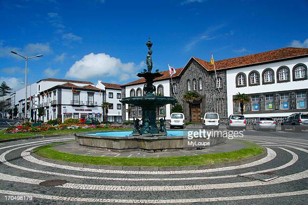 One Of The Squares In Downtown Ponta Delgada The Largest City In The Azores Islands Portugal