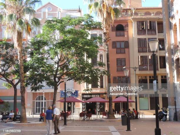 one of the squares in the center of castellon city, spain. - castellon de la plana stock pictures, royalty-free photos & images
