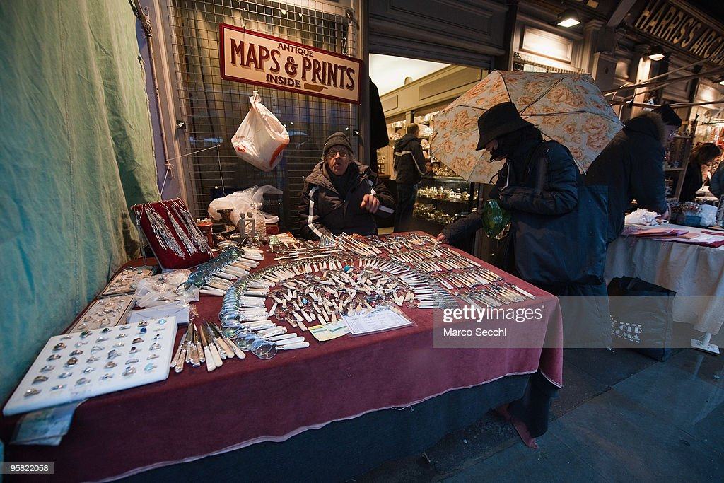 One of the stalls at Portobello Market on January 16, 2010 in London, England. Portobello traders fear for the Market's future after Lipka's Antiques Arcade, where more than 150 traders had their stalls, was redeveloped to accommodate a large High street chain store.